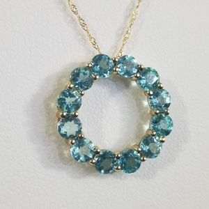 14kt Apatite Circle Slide Pendant & Chain